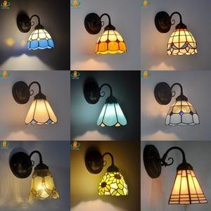 Синий стеклянный настенный светильник Tiffanylamp, светодиодный, современный, минималистичный, зеркальный, передний балкон, прикроватная лампа ...