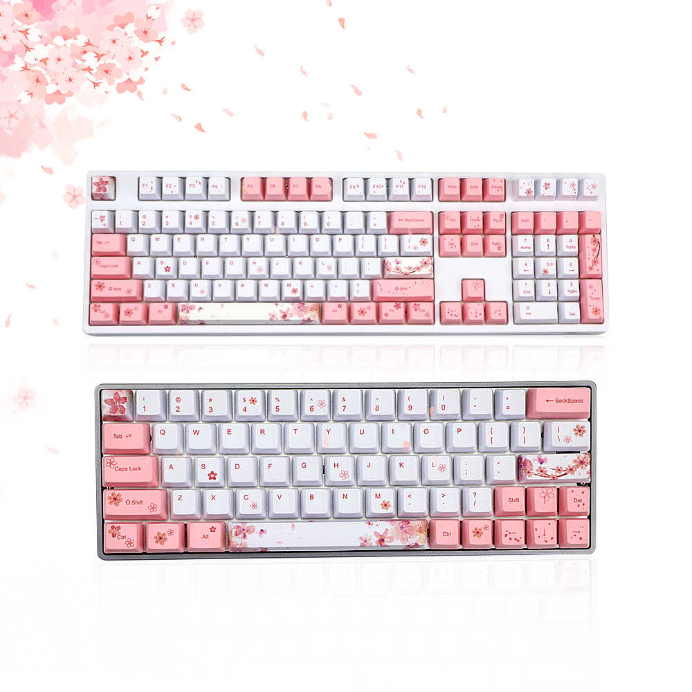 Dye Subbed PBT Cherry blossoms Keycap 72/122 keys oem Profile Keycaps For GH60 RK61/ALT61/Annie GK61 GK64 dz60 DIY keyboard|Keyboards| - AliExpress