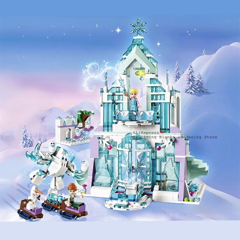 2019 New Princess Series Elsa Anna Magic Ice Castle Palace Model Building Blocks Bricks Legoinglys 43172 Girl Toys Birthday Gift