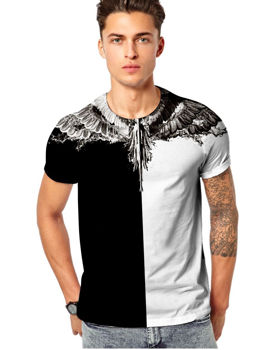 MEN'S WEAR Europe And America 3D Fashion Printed Yin And Yang Wing Popular Short Sleeve T-shirt Men And Women Celebrity Style Ho