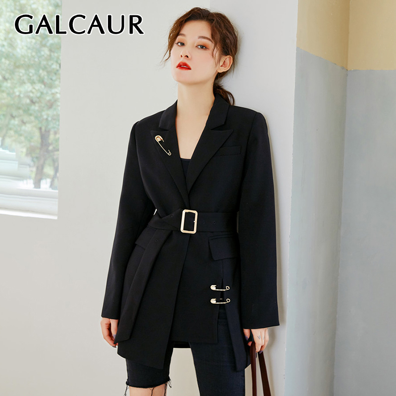 GALCAUR Korean Lace Up Pin Women's Jacket Notched Long Sleeve High Waist Sashes Large Size Casual Blazer Female 2020 New Clothes
