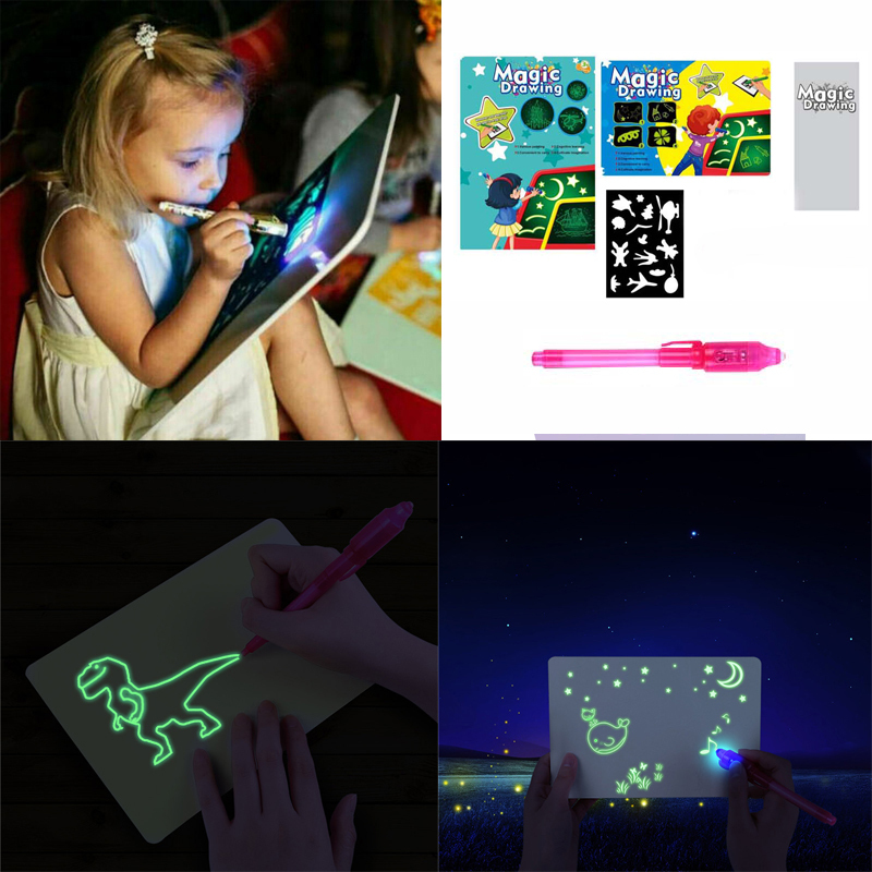 A3 A4 A5 LED Educational Draw With Light Fun And Developing Toy Magic Draw Kids Gifts NEW Fluorescent Writing Board