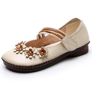 Image 4 - Texiwas Echt Leer Vrouwen Flats Schoenen 2020 Mary Janes Handgemaakte Bloem Schoenen Zachte Comfortabele Loafer Vrouwen Rijden Schoenen