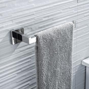 Wieszak na ręczniki wieszak na ręczniki kwadratowy pojedynczy pręt do montażu ścianie gospodarstwa domowego wieszak na ręczniki wieszak na ręczniki wieszak do ręczników dla hotelu domu łazienka tanie i dobre opinie NoEnName_Null STAINLESS STEEL BA7004TBC Pierścienie ręcznik Chrome Bathroom Shower Room Restroom Kitchen Bathroom Accessories
