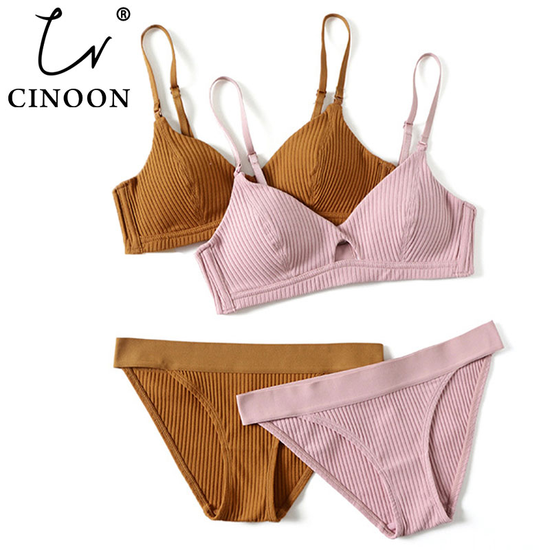 CINOON 2019 High-end Brand Romantic Temptation Bra Set Women Fashion Stripes Underwear Set Push Up Bra And Panties Set