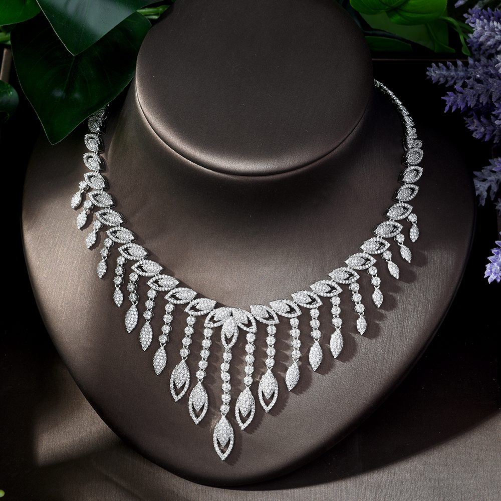 Image 4 - HIBRIDE Luxury Style Growing Leaves With AAA Cubic Zircon Elegant  Jewellry Sets Earring Necklace for Women Attending PartyN 1218Jewelry  Sets