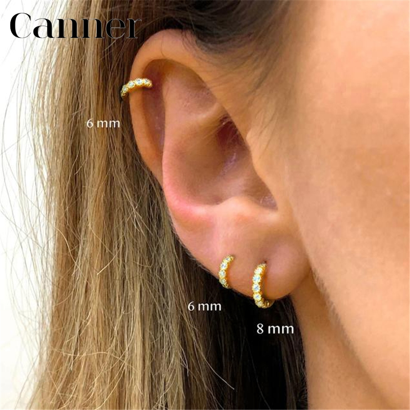 6mm/8mm Charming Gold/Rose Gold/Silver Circle Zircon CZ Hoop Earrings For Women 925 Sterling Silver Small Round Earrings Jewelry