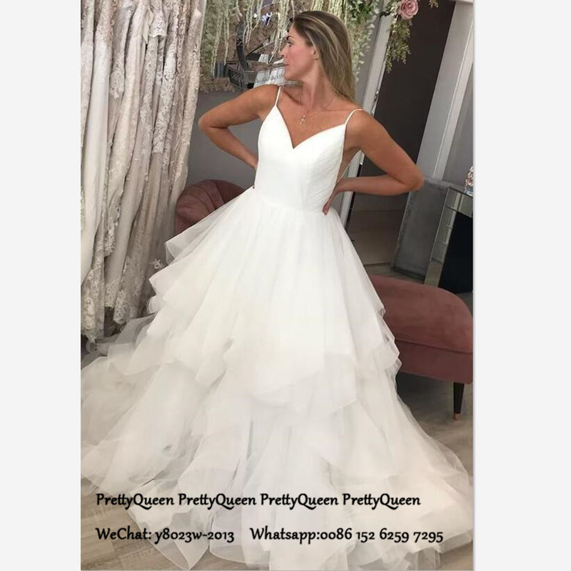 White Tulle Wedding Dress For Women Tiered A Line Long Chapel Train Spaghetti Strap Backless Bridal Dresses Gown