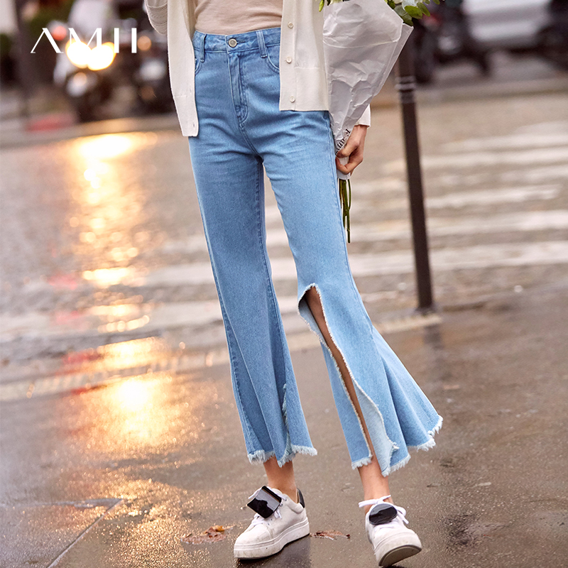 Amii Minimalist Ripped Flared Pants Spring Women Loose Zipper Female Jeans 11970023