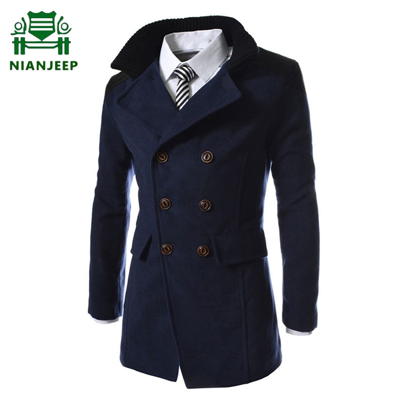 2020 Men's Jacket Warm Trench Long Outerwear Male Autumn Winter New Solid Color High Quality Overcoat Men Stylish Formal Coats