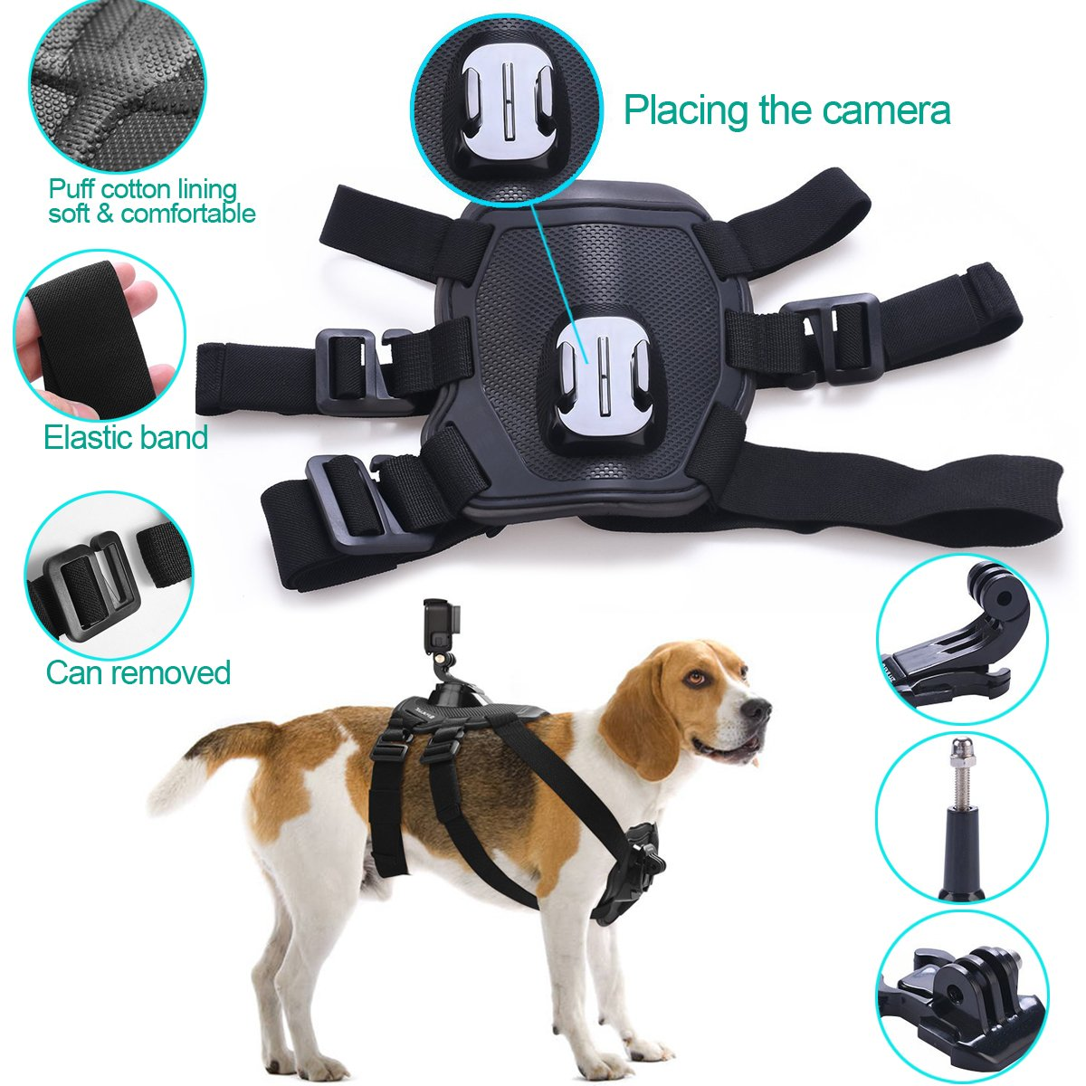 Fetch Dog Mount Harness Chest Strap Mount For Gopro Hero 7 6 5 4 Session 3+ 3 SJCAM Xiaomi Yi 4K GO H9 PRO Camera Accessories