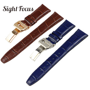 Image 2 - 22mm Mens Blue Watch Band for IWC Calf Leather Watch Strap Alligator Croc Grain CHRONOGRA Bracelet Belt Long Short VersionBand
