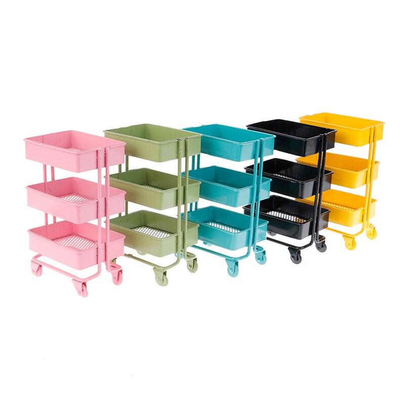 1:6 Dollhouse Miniature Furniture Shelf Bookshelf With Wheels Storage Display Rack Dollhouse Furniture Accessories 135*74*98mm