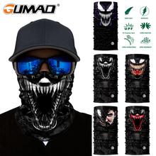 Mężczyźni magiczna Bandana Venom Spider-Man Web Shooter Superhero narciarski ocieplacz na szyję maska do osłony twarzy komin piesze wycieczki kolarstwo rower pałąk tanie tanio GUMAO CN (pochodzenie) Czaszka Poliester Moda Half Face Mask Magic Bandana Tube Scarf 48*24cm Thin 0 4mm Spring Summer Autumn Winter