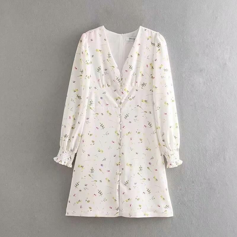 2019 women elegant v neck flower vestidos print mini dress female french style long sleeve casual slim buckles dresses DS2734