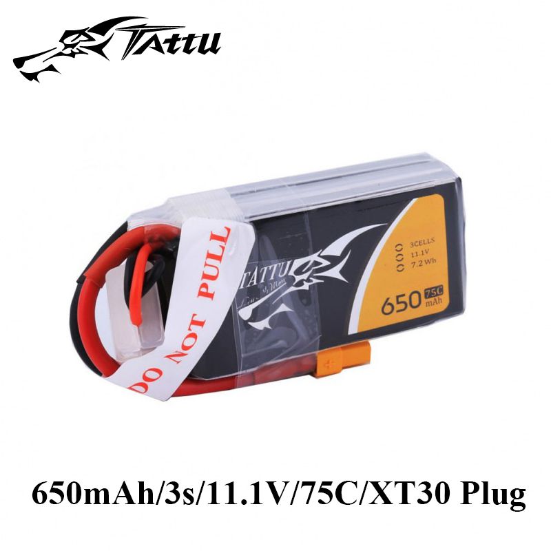 Ace Tattu Lipo Battery 11.1v 14.8v 650mAh 3s 4s 75C RC Battery with XT30 Plug Batteries for 150 Size FPV Drone Frame image