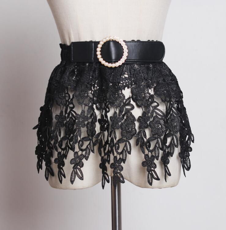 Women's Runway Fashion Vintage Lace Cummerbunds Female Dress Coat Corsets Waistband Belts Decoration Wide Belt R1783