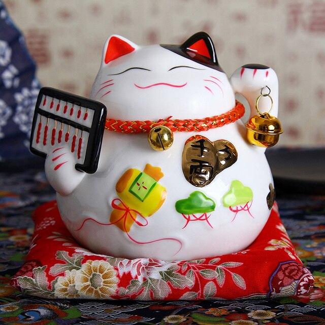 4.5 cal japoński ceramiczny kot na szczęście Maneki Neko ozdoby do dekoracji domu prezenty biznesowe kot na szczęście skarbonka Feng Shui Craft