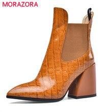 MORAZORA 2020 למעלה איכות עור אמיתי נעלי נשים מגפי קרסול הבוהן מחודדת סתיו צ לסי מגפי קלאסי גבוהה עקב נעלי אישה