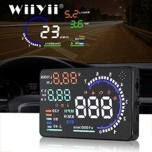 Wiiyii a8 huh head-up display obd2 ii euobd sistema de aviso excesso de velocidade projetor brisa tensão alarme do carro universal