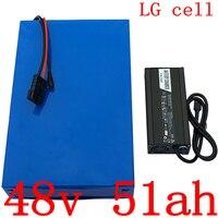 Pack48V 48v bateria 1000W 2000W 3000W 48 48V 50AH bateria de lítio bicicleta elétrica da bateria V uso da bateria de iões de Lítio celular LG 50AH
