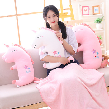 Hot Cute Unicorn Plush Toy Baby Unicorn Three-in-one Pillows Doll Animal Stuffed Plush Soft Toy Birthday Gifts For Children Gift new hot cute penguin stuffe plush doll cosplay unicorn toy baby soft animal penguin pillow children girl birthday christmas gift