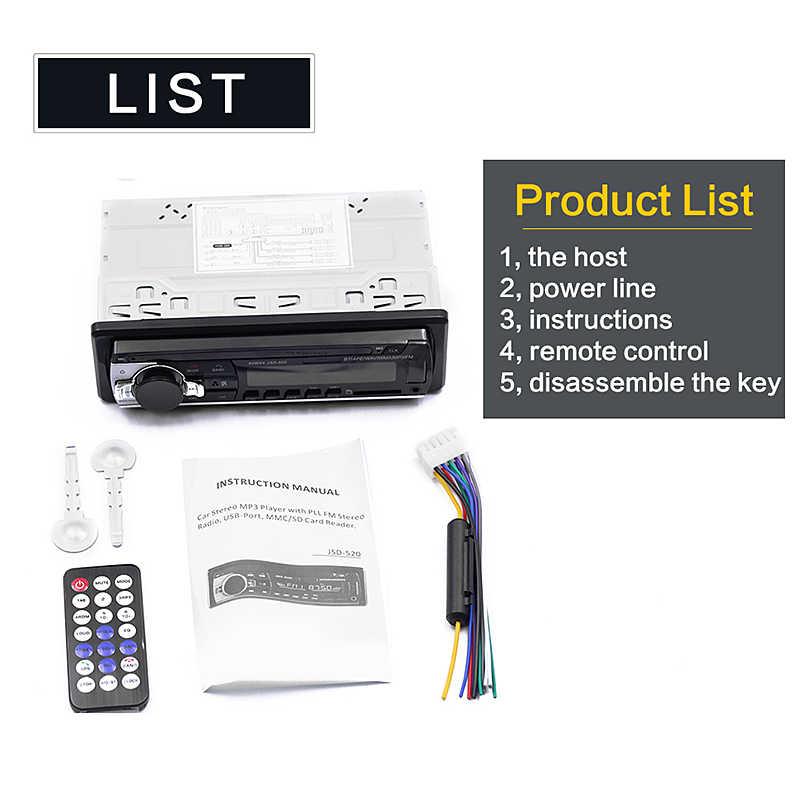 12 فولت في اندفاعة 1 الدين سيارة مشغل وسائط متعددة راديو ستيريو بالسيارة FM Aux المدخلات استقبال USB بلوتوث Autoradio MP3 مشغل موسيقى
