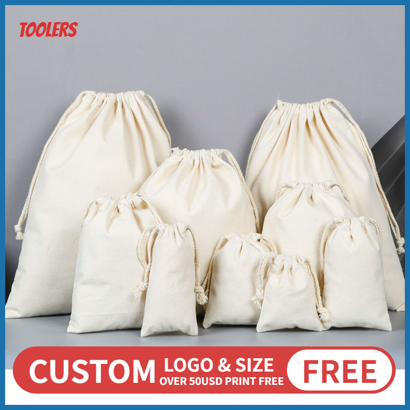 Custom Logo 100% Cotton Canvas Drawstring Bag Eco Friendly Durable Draw String Packaging Bags Large Capacity Pouches Wholesale