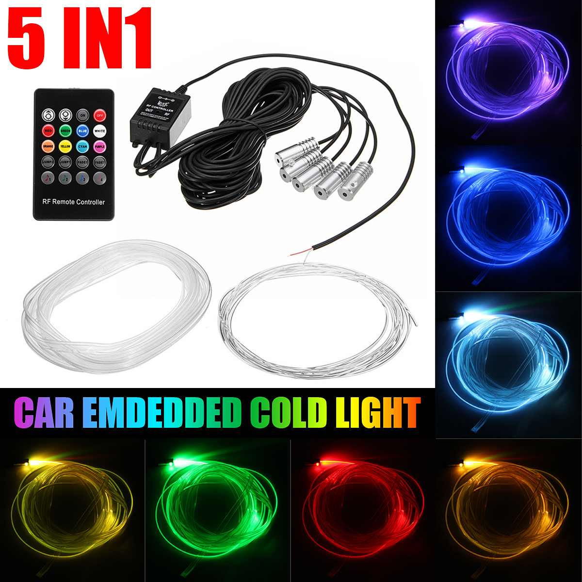 5 in1 5050 LED Car Interior Atmosphere Strip Light 12V remote control Fiber Optic Neon Car LED RGB Light Strip Kit Accessories image