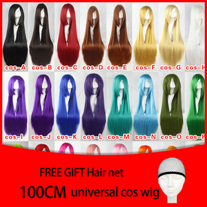 Image 2 - MUMUPI 100cm Long Straight Wig Heat Resistant Synthetic Hair Wig Party Cosplay Wigs Red Purple Pink Black Grey