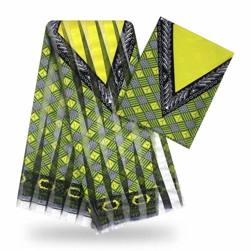 Hot selling 4Y ORGANZA+2Y Ribbon material colorfast Nigrian design African wax pattern satin silk fabric YB112508(China)