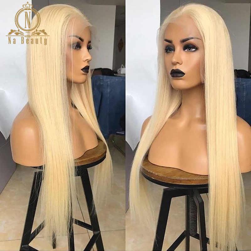 Loira reta 613 perucas completas do cabelo humano da peruca do laço para as mulheres brasileiras pré arrancadas hd perucas completas do cabelo humano do laço nabeauty 150%
