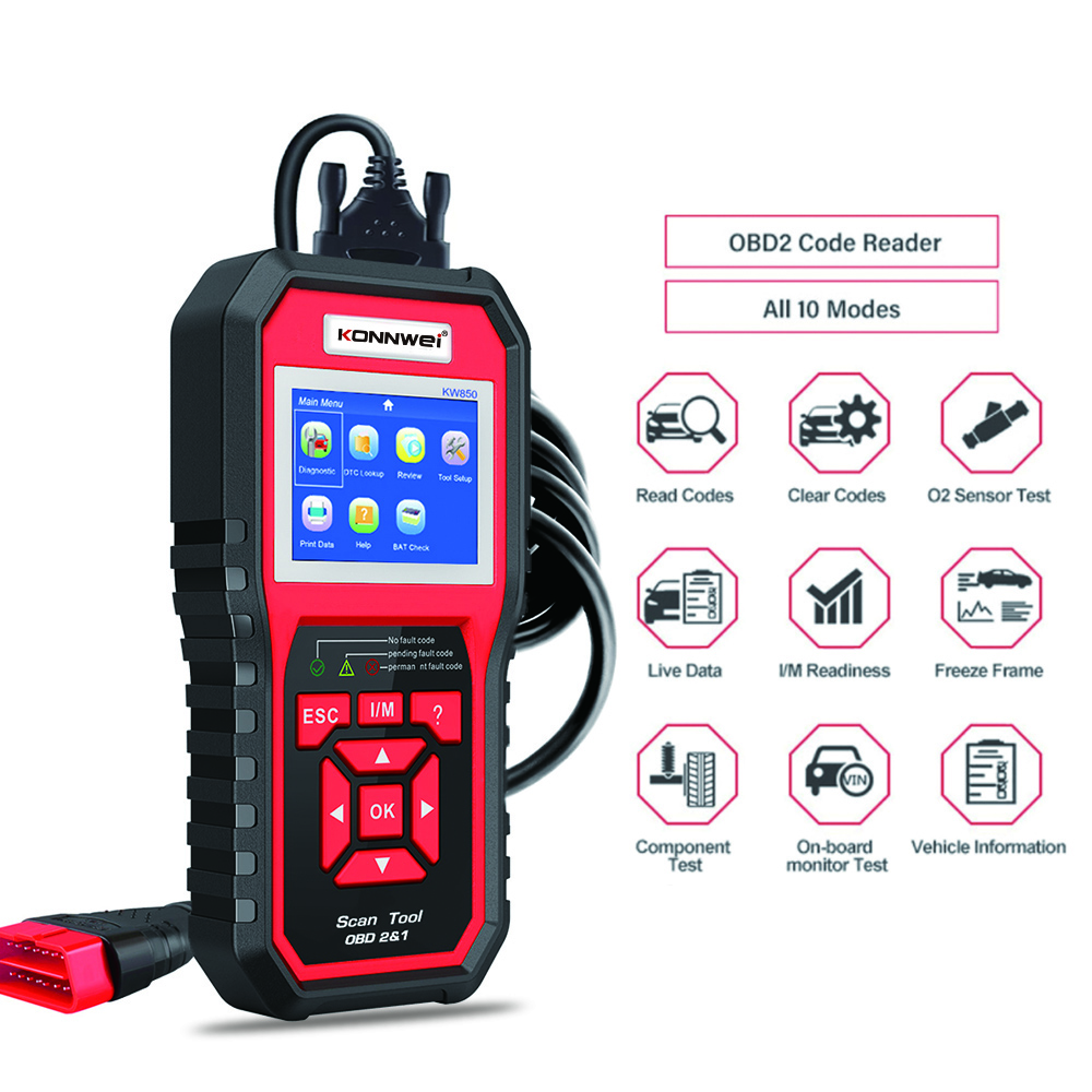 KONNWEI OBD2 Scanner KW850 Code Reader Vehicle Engine Diagnostic EOBD Scan Tool for all OBDII &CAN Protocol Cars Since 1996