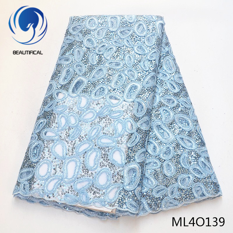 BEAUTIFICAL nigerian lace fabrics New arrival embroidery organza with sequins 5yards african lace organza fabric ML4O139
