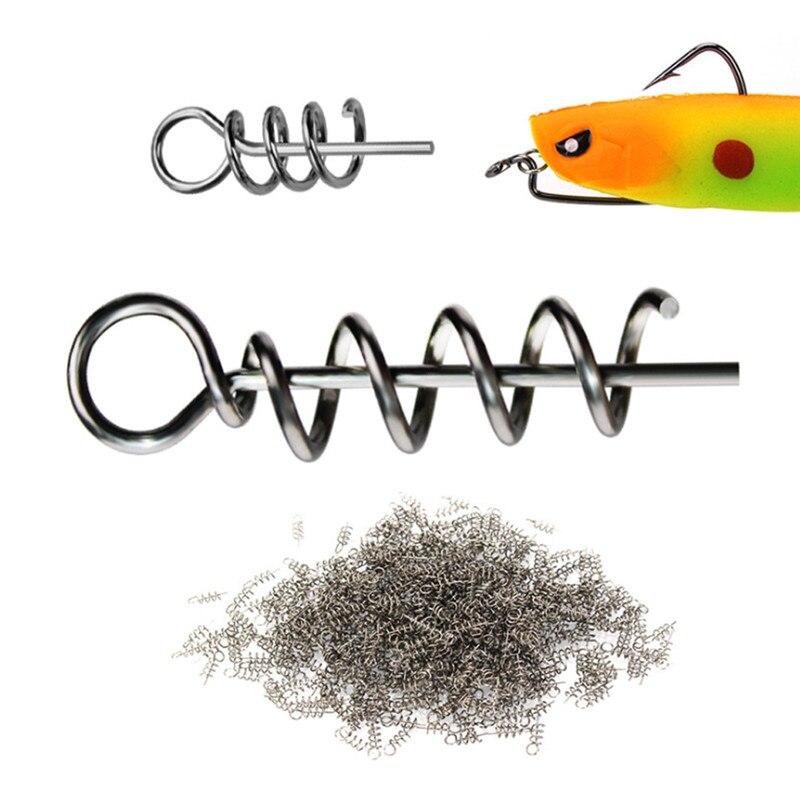 100PCS Fishing Soft Worm Bait Lure Spring Fixed Hook Pin Latch Twist Lock Needle