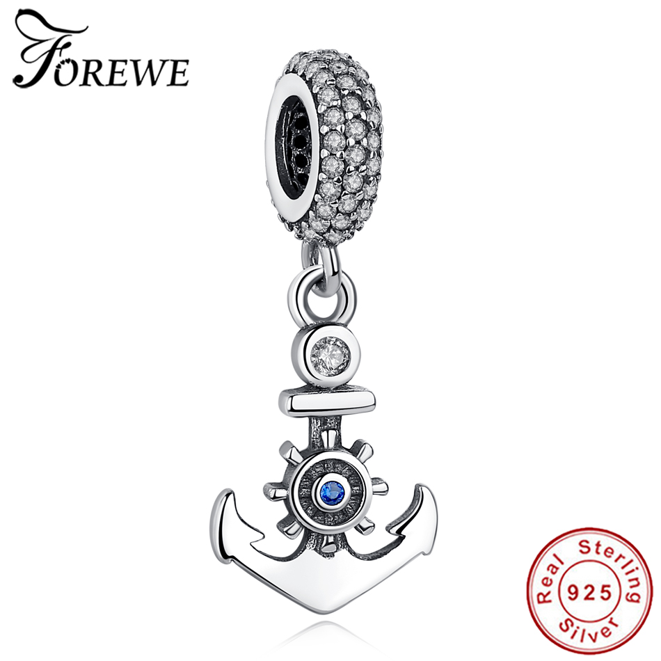Fashion New 925 Sterling Silver Ocean Anchor Charm Pendant Clear CZ Beads Fit Pandora Charm Bracelet Silver 925 Original Jewelry