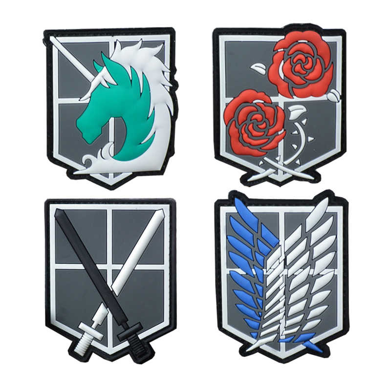 Angriff auf Titan PVC Gummi Patches Scouting Legion Recon Corps Patch Rucksack Jacke Applique Anime Cosplay Abzeichen Große Bedge