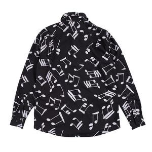 Image 2 - Рубашка мужская с длинным рукавом, блузка свободного покроя в горошек, с принтом музыкальных нот
