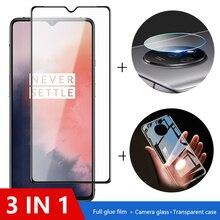 3 in 1 Fall + Kamera Glas Für oneplus 7t 7 Screen Protector Objektiv Glas Auf eine plus 8t nord 6t 6 schutz Glas