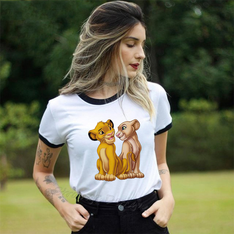 Summer New Casual <font><b>HAKUNA</b></font> <font><b>MATATA</b></font> Ullzang <font><b>Lion</b></font> <font><b>King</b></font> Simba Printed Women T Shirt Harajuku Solid Short Sleeve Top Tee image