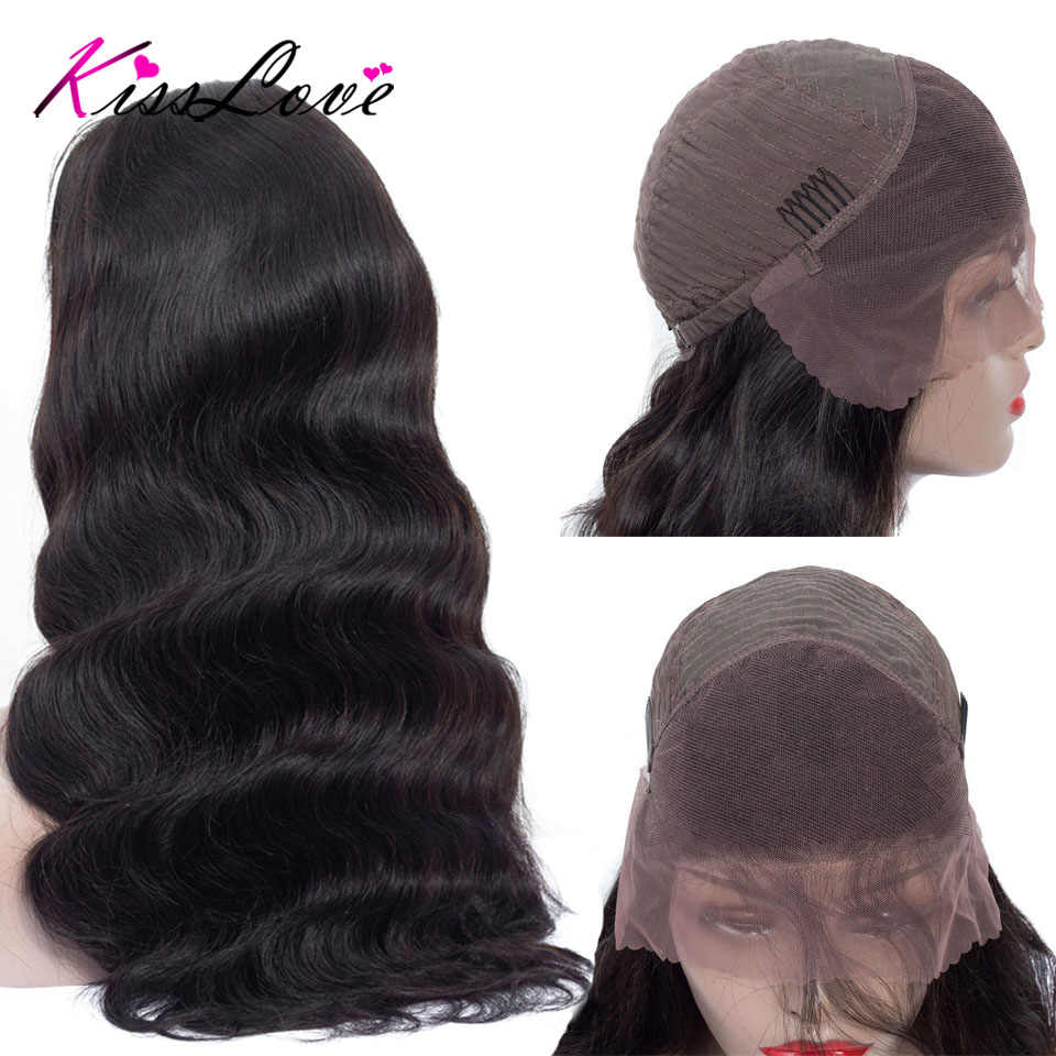 13x4 pelucas de cabello humano Frontal de encaje brasileño para mujeres negras Remy pelo cuerpo onda encaje Frontal pelucas Pre arrancó cabello KissLove