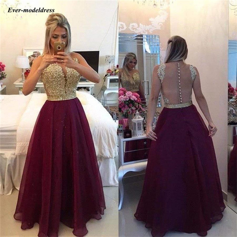 2019 Burgundy Chiffon Long   Prom     Dresses   Lace Appliques Beaded Illusion Buttons Back Arabic A-Line Formal Evening Gowns vestidos