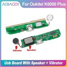 AiBaoQi 새로운 오리지널 USB 플러그 포트 충전 보드 + 라우드 스피커 부저 링거 + 모터 진동기 Oukitel K6000 Plus Phone