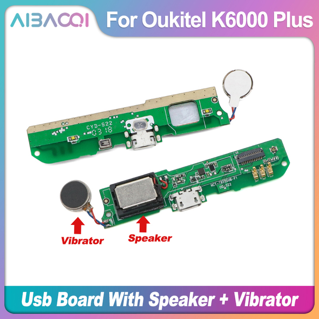 AiBaoQi nouveau Port de prise USB Original carte de Charge + haut parleur sonnerie sonnerie + moteur vibrateur pour téléphone Oukitel K6000 Plus