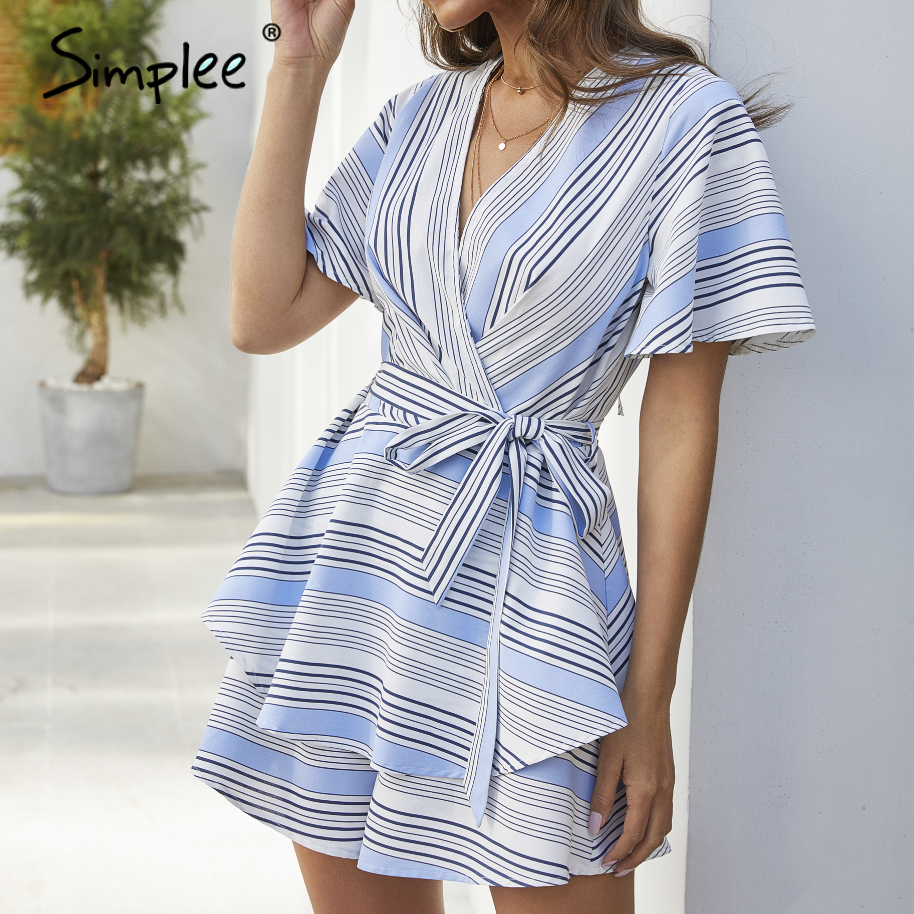 Simplee Sexy V-neck Women Playsuit Romper Striped Ruffled Backless Sash Holiday Jumpsuit Spring Summer Ladies Chic Overalls 2020
