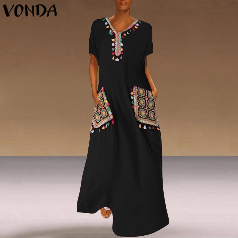 VONDA Bohemian Printed Dress Vintage Party Maxi Long Dress Casual Loose Short Sleeve Beach Sundress Plus Size Vestido Femme Robe