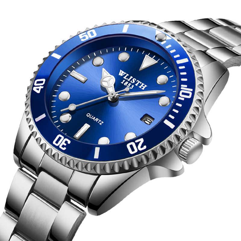 ساعة رجالية ماركة مضيئة مؤشر الفولاذ المقاوم للصدأ حزام ساعة رياضية للرجال جنيف ستون مناسبة ل رولكس 2020