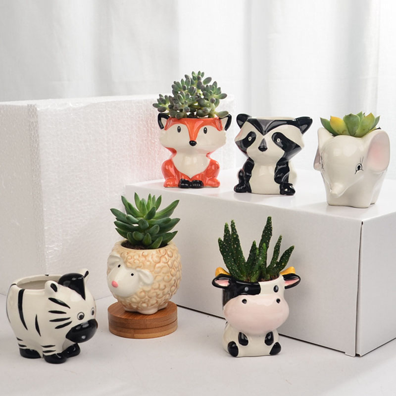 Creative Cute Animal Ceramic Succulent Flower Pot Miniature Model Potted Planter Office Decoration Gift Fairy Garden Decoration Just6F