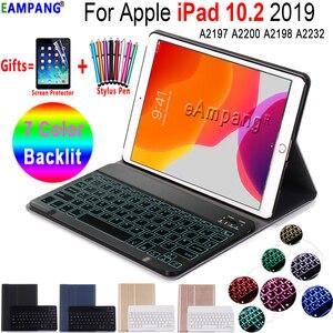 Image 1 - Чехол с клавиатурой для iPad 10,2, 7 цветов, с подсветкой, 3,0, Bluetooth, чехол для Apple iPad 7, 7 го поколения, A2200, A2198, A2197