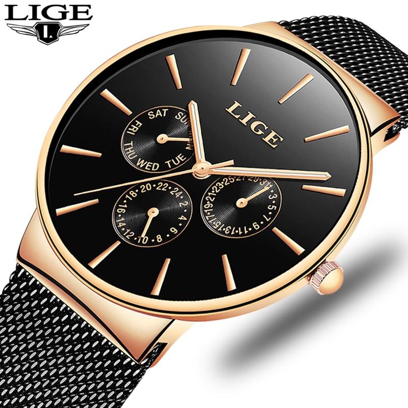 2020 Watches Women Super Slim Mesh Stainless Steel LIGE Top Brand Luxury Casual Quartz Clock Ladies WristWatch Relogio Feminino 4
